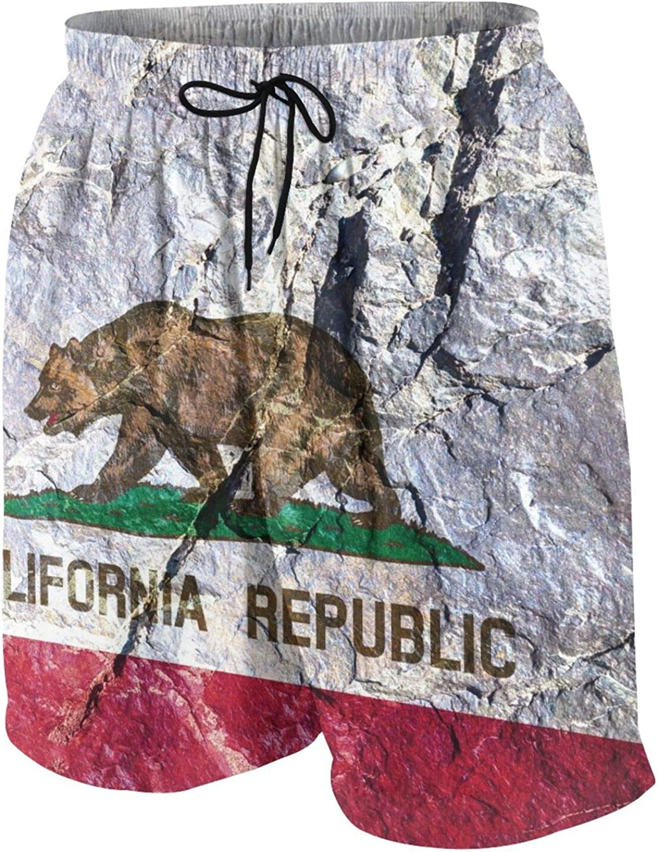California Flag on Wall Boys Girls Quick Dry Beach Board Shorts Fashion Swim Trunks 7-20T