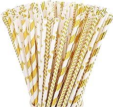 ALINK Biodegradable Gold Paper Straws Bulk, Pack of 100 Metallic Foil Striped/Wave/Heart/Star Straws for Birthday, Wedding...