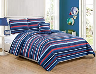 Mk Collection 3pc Twin Size Reversible Coverlet Bedspread Set Striped Navy Blue Red White Light Blue New