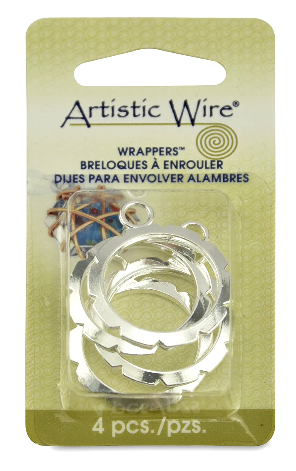 Artistic Wire, Wrapper 28-Millimeter Round Findings, Nickel Free Silver Plate, 4 Piece