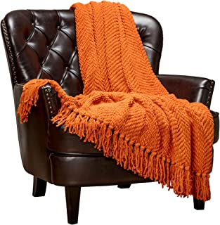 Chanasya Textured Knitted Super Soft Throw Blanket with Tassels Warm Cozy Plush Lightweight Fluffy Woven Blanket for Bed Sofa Chair Couch Cover Living Bed Room Orange Throw Blanket (50x65)- Orange