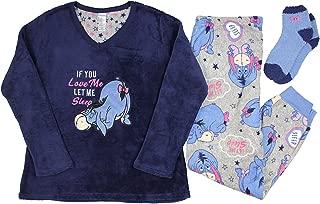 Disney Women's License Pajama Plush Fleece Sleep Top and Pant 3 Piece Giftable Sleepwear Set