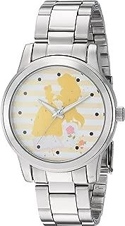 Disney Women's Princess Belle Analog-Quartz Watch with Stainless-Steel Strap, Silver, 18 (Model: WDS000236)