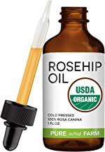 Rosehip Seed Oil by Pure Acres Farm. USDA Certified Organic, Cold Pressed, 100% Unrefined, Hexane Free. Essential Oil for Face, Nails, Hair, Skin. Reduce Acne Scars (1oz)