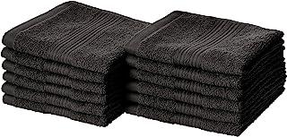 AmazonBasics Fade-Resistant Cotton Washcloth - 12-Pack, Black