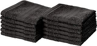 AmazonBasics Fade-Resistant Cotton Washcloths - Pack of 12, Black