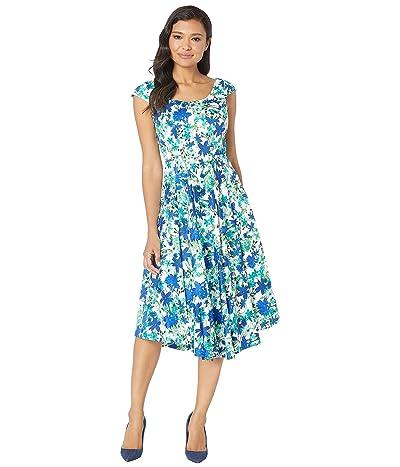 Calvin Klein Cap Sleeve Floral Print Fit Flare Dress (Atlantis Multi) Women