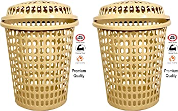 2 Laundry Basket with Lid, Cap - Durable (Unbreakable) 50L with 6 Months Warranty (Cream, Cream)