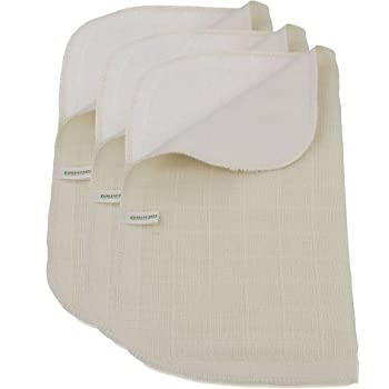 Verde fibras Juego de 3 muselinas de algodón orgánico toalla para ...