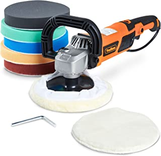 """Vonhaus Rotary Polisher Sander, Car Polishing Machine 10-Amp Electric 7"""" Pad with Accessory Kit 6 Variable Speeds and 7 Pads to Buff, Polish, Smooth and Finish – 600-3000 RPM Ideal for Cars, Boats"""