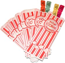 25 Popcorn Bags for Movie Night Party with Kids (16 Tickets Included), Small Red and White Movie Theater - Carnival Style Paper Pop Corn Bag, Bags for Popcorn Party, 1.1 oz 9.5 inches
