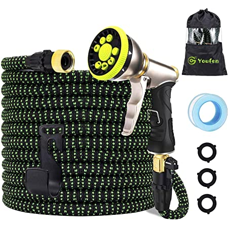 Garden Hose Expandable Hose Pipes- Heavy Duty Flexible Leakproof Hose High-Pressure Water Spray Nozzle & Bag & Plastic Holder.No Kink Tangle-Free Water Hose (Green and Black, 50FT)