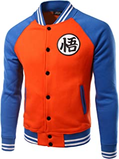 Men Dragon Ball Goku Long Sleeve Snap Front Bomber Jacket Varsity Jacket