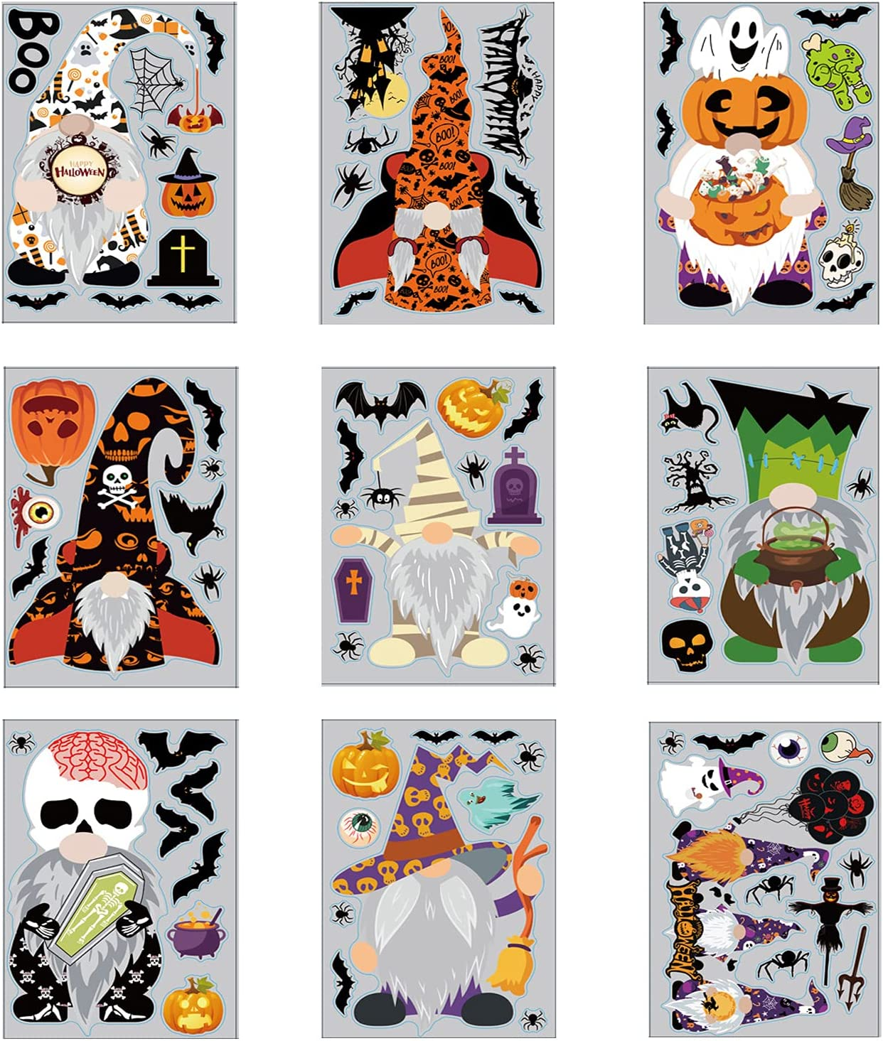 NDLBS Halloween High shipfree quality Window Clings Gnome Double-Sided Sticker