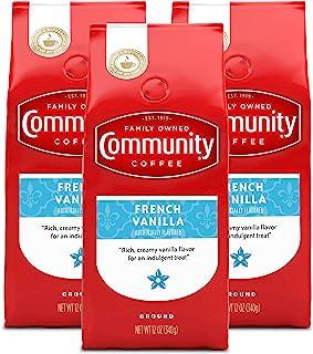 Community Coffee Premium Ground Coffee, French Vanilla Flavored, Medium Roast, 12 oz., (Pack of 3)