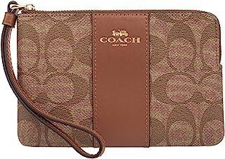 Coach Corner Zip Signature PVC Wristlet, 58035, KHAKI/SADDLE