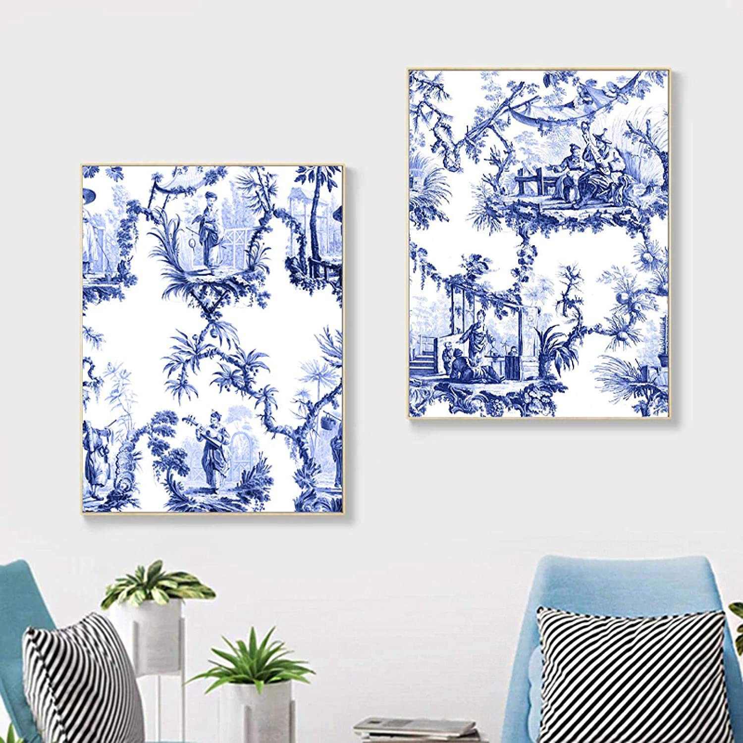 Chinese Blue and White Abstract Pictur Wall Paintings Oakland Mall Watercolor quality assurance
