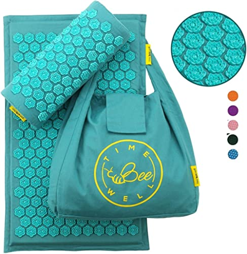 TimeBeeWell Eco-Friendly Back and Neck Pain Relief - Acupressure Mat and Pillow Set - Relieves Stress, Back, Neck, an...