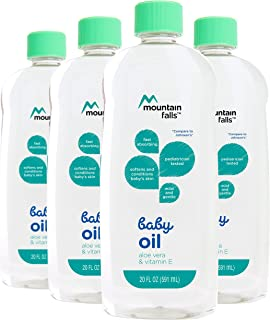 Mountain Falls Baby Oil with Aloe Vera and Vitamin E, 20 Fluid Ounce (Pack of 4)