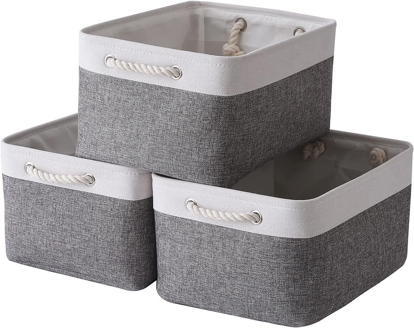 TcaFmac Small Fabric Storage Baskets for Organizing [3 Pack] Clo