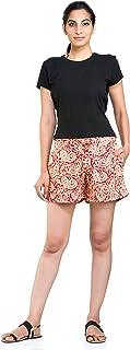 Handicraft-Palace Red Paisley Printed Hot Pant Night Pants Sexy Shorts Casual Beach Running Slim Mini Soft Pants Short