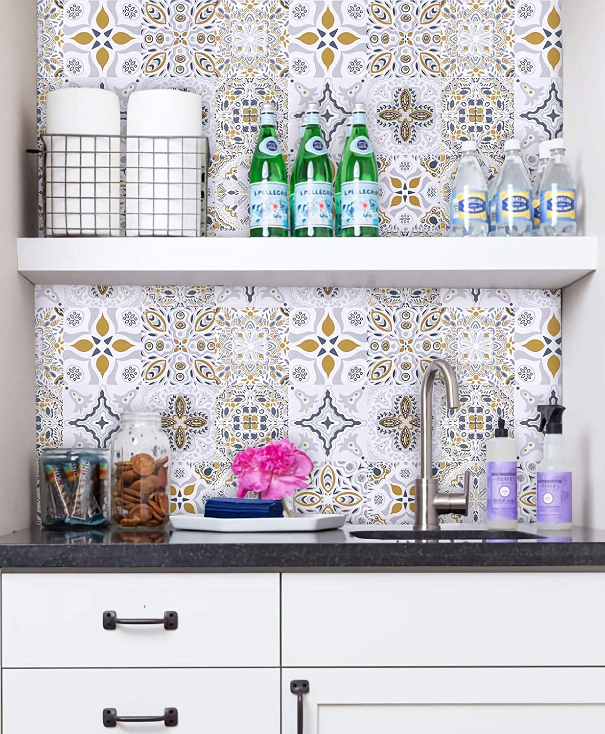 HeloHo 196.85X16.5 Thicken Glossy Tile Pattern Contact Paper Peel and Stick Wallpaper Removable Waterproof Wall Covering Self Adhesive Vinyl Film Roll Kitchen Backsplash Shelf Drawer Liner Stair DIY