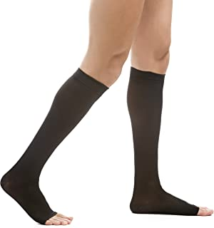EvoNation Men's USA Made Open Toe Graduated Compression Socks 20-30 mmHg Firm Pressure Microfiber Medical Quality Knee High Toeless Support Stockings Hose - Comfort Circulation Travel (XL, Black)