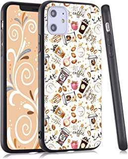 LuGeKe Cute Coffee Phone Case for iPhone 11,Coffee Patterned Bean Design Case Cover,Hard PC Back with TPU Bumper Anti-Stratch Bumper Protective Cute Girls Phonecase(Coffee Bean)