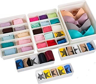 Uncluttered Designs Adjustable Drawer Organizers (6 Set) with Customizable Dividers in Stackable Durable Plastic for Under...