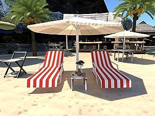 غطاء كرسي استرخاء، غطاء منشفة الشاطئ من الألياف الدقيقة وغطاء كرسي للكرسي وغطاء كرسي الأريكة الأريكة مع جيوب لحمام السباحة...