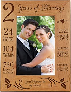 LifeSong Milestones 2nd Anniversary Picture Frame 2 Years of Marriage - Two Year Wedding Keepsake Gift for Parents Husband Wife him her Holds 5x7 Photo - You'll Forever be My Always (7.5x9.5)