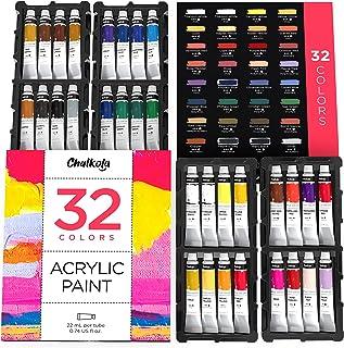 Acrylic Paint Set (32 Colors, 22 ml tubes, 0.74 oz.) for Canvas, Crafts, Wood Painting - Rich Pigment, Non Fading, Vibrant...