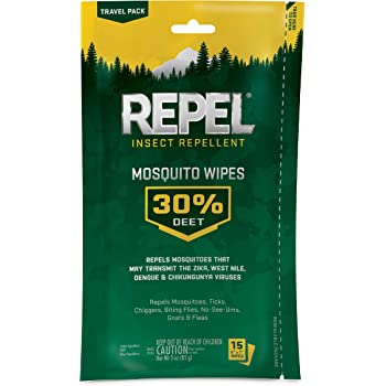 Repel 94100 Insect Repellent Mosquito Wipes 30% DEET, 15-Count