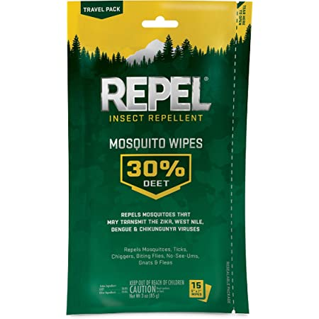 Repel 94100 HG-94100 Sportsmen Mosquito Wipes, 15 Count, Case Pack of 1