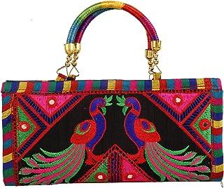 Kuber Industries Floral Design Polyester Handcrafted Embroidered Women Handbag (CTKTC4341)