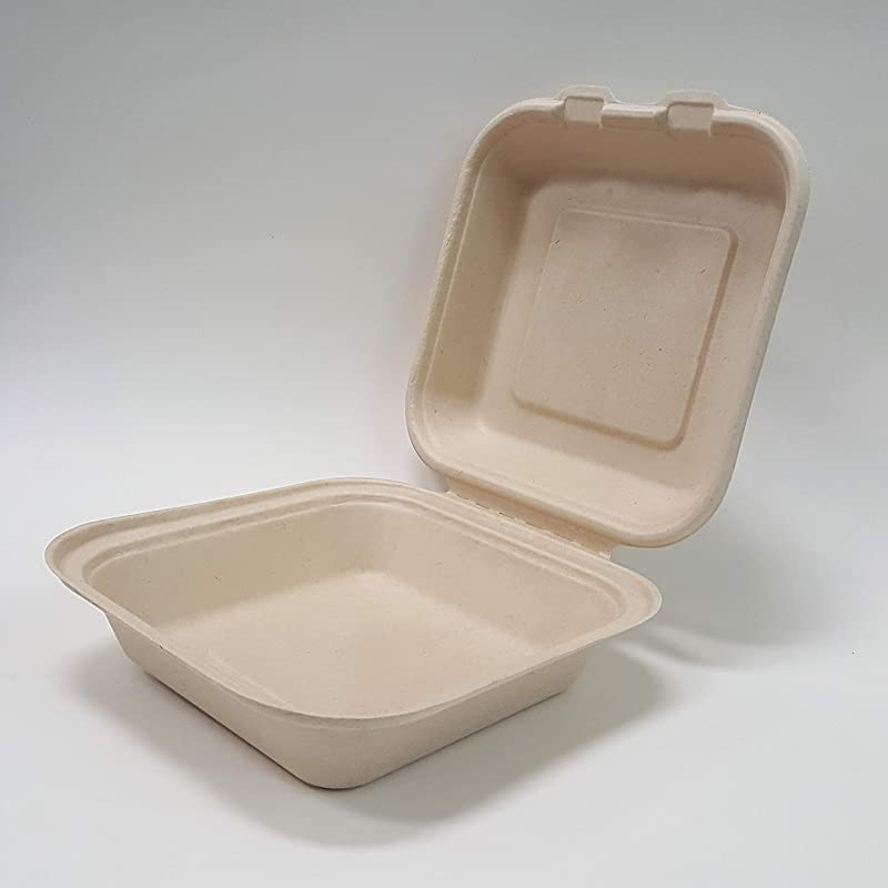 Total Papers 6 5 X 6 5 Clam Shell Container 500 Per Case Environmentally Responsible 100 Biodegradable Compostable Wheat Straw Fiber NOT White Color Bagasse NOT Bleached Tree Free