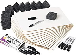 Charles Leonard Dry Erase Lapboard Class Pack, Includes 12 Each of Whiteboards, 2 Inch Felt Erasers and Black Dry Erase Ma...