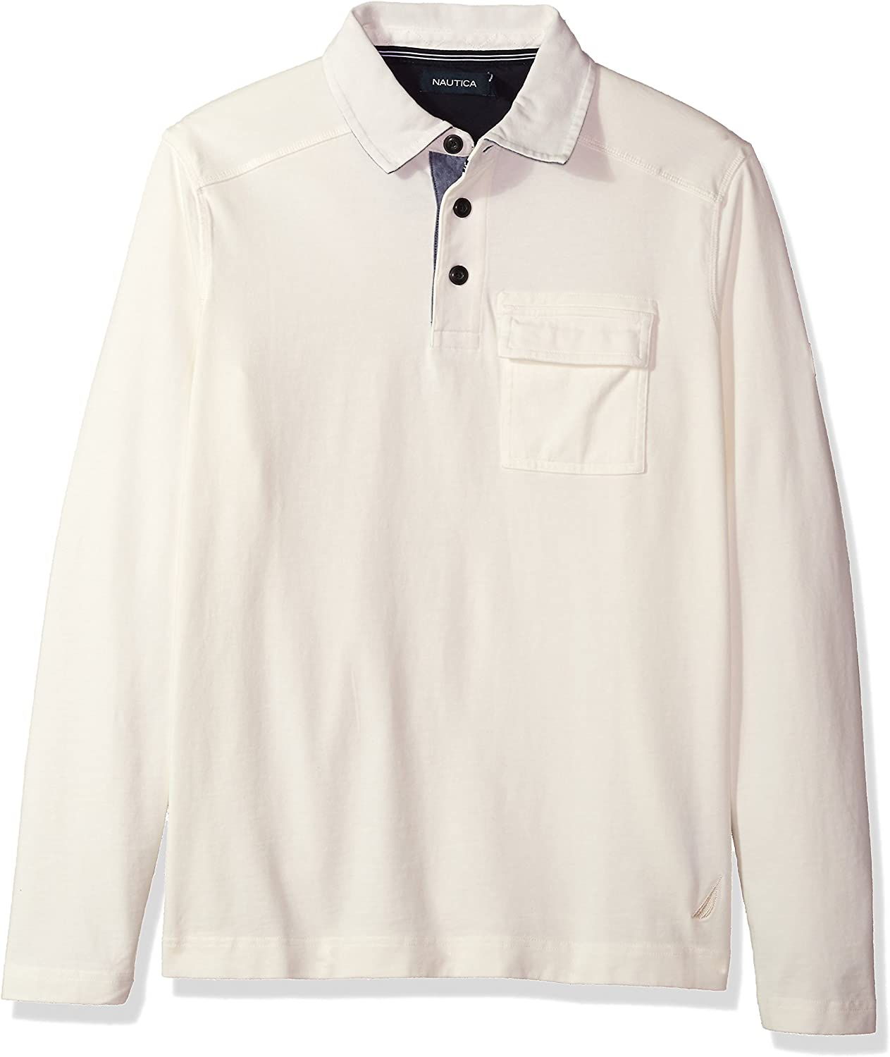Nautica Long Sleeve Heavy Weight Jersey Polo Shirt with Chest Pocket