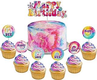 WATINC 25pcs Tie Dye Happy Birthday Cake Toppers Set, Art Retro 60s Themed Hippie Birthday Party Cup Cake Decoration Toppe...