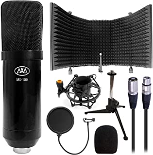 AxcessAbles MX-100 Professional Cardioid Studio Condenser XLR Mic with AxcessAbles SF-101 Microphone Isolation Shield, Desktop Tripod Stand, Shock Mount and Pop Filter, Studio Recording & Broadcasting