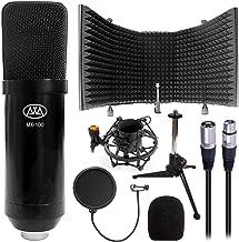 AxenseAbles MX-100 حرفه ای Cardioid Studio Condenser XLR Mic با محافظ جدا شده میکروفون SF-101 ، پایه سه پایه رومیزی ، فیلتر شکن و پاپ فیلتر ، ضبط و پخش استودیو
