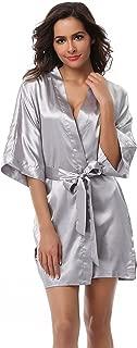 Women's Kimono Robe Solid Color Short Silk Bathrobe with Satin Belt for Wedding Party