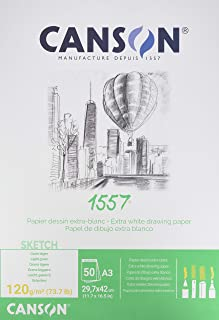 Canson 1557 - A3 pad including 50 sheets of 120gsm white cartridge drawing paper