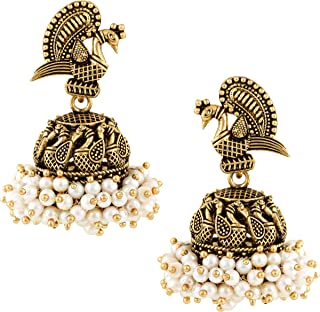 MEENAZ Traditional Wedding Temple 22kt Gold oxidised Meenakari Ethnic Antique South Indian Round Pearl Moti Feather Peacoc...