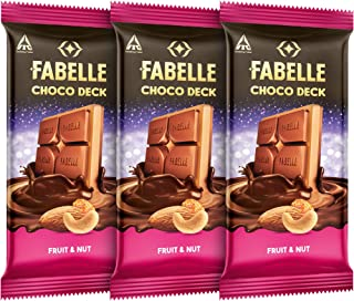 Fabelle Choco Deck – Fruit & Nut, Pack of 3x128gm, 3 Layered Premium Milk Chocolate Bar with Choco Crème and Fruit & Nuts