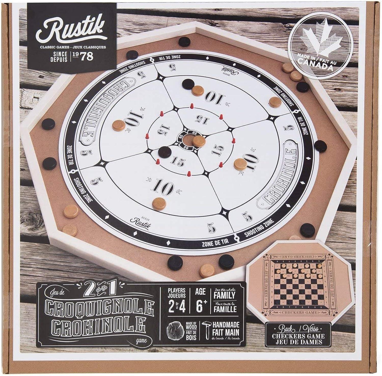 RUSTIK BJR000135 Crokinole De Luxe 2 Games in 1, Multicolor