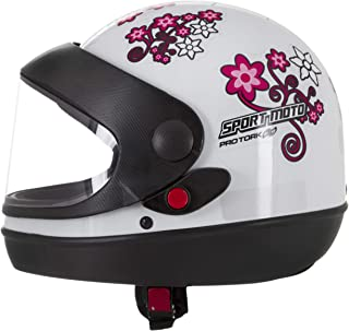 Pro Tork Capacete Sport Moto For Girls 56 Branco/Rosa