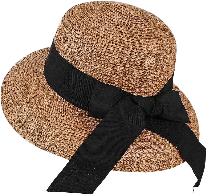 HUAMULAN Women Straw Sun Hat Summer Bucket Cap Boonie Hiking Hats,Bowknot
