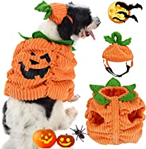 JUSTDOLIFE Dog Apparel with Pumpkin Hat Pet Dog Clothes Cozy Apparel Pumpkin Design Creative Funny Pet Clothing Dog Halloween Costume