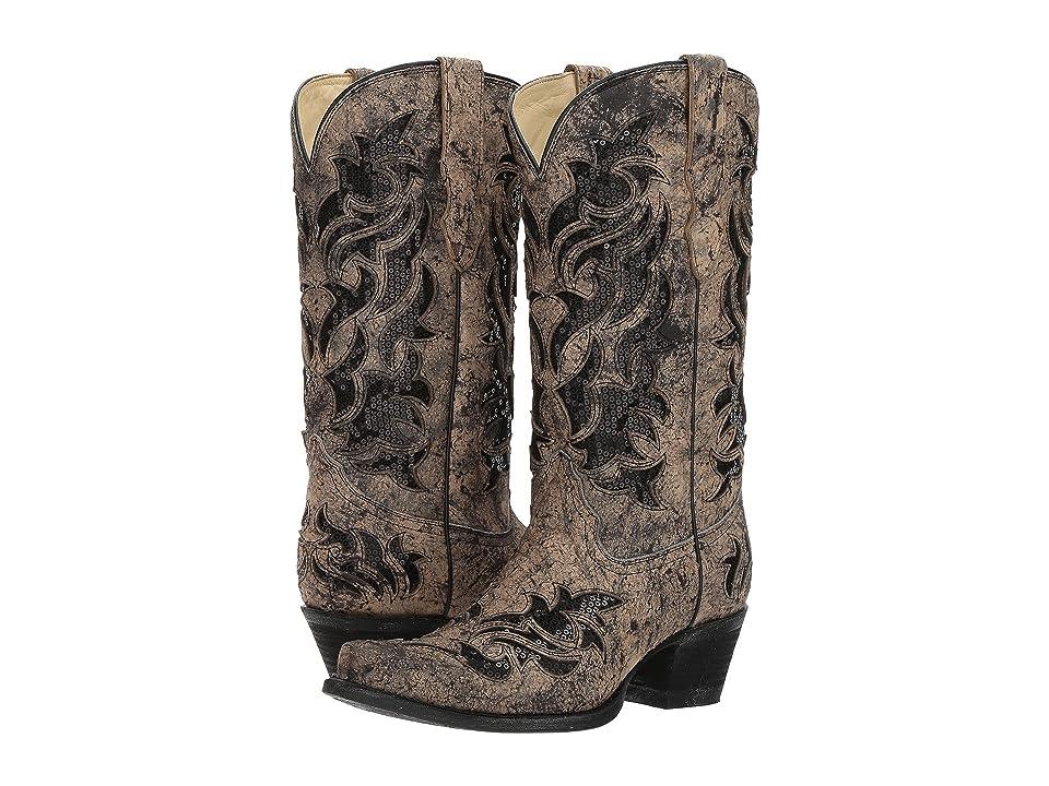 Corral Boots E1237 (Black/Bone/Glitter) Cowboy Boots